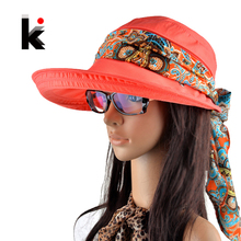 Free shipping 2017 summer hats for women chapeu feminino new fashion visors cap sun collapsible anti-uv hat 6 colors(China)