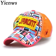 Yienws Woman Cotton Baseball Cap Bone Aba Curva Bone Gorras Black Orange Full Cap For Woman Summer Cap YIC445