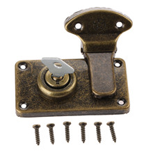 Vintage Furniture Hardware Antique Box Latches Decorative Hasp Jewelry Wooden Box Suitcase Hasp Latch Toggle With Key and Screw(China)