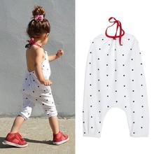 2017 Summer Children Girls Clothing Suit Fashion Girl Halter Jumpsuit Kids White Cute Polka Dot Print Rompers One Piece Suit LL6