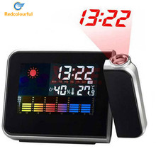 Redcolourful Digital LED Alarm Clock Despertador Weather Temperature Display Desktop LCD Snooze Alarm Clock Backlight