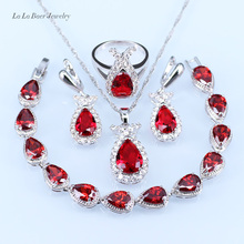 L&B drop Red created Garnet Jewelry Set silver 925 White crystal For Women Bracelet/Necklace/Earrings/Ring