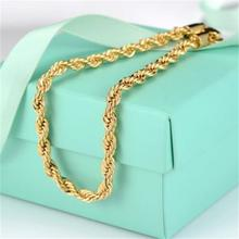 2017 New Arrival 18K Yellow Gold Filled Mens Women Bracelet Rope Chain Copper Link Wristband 23cm Free Shipping(China)