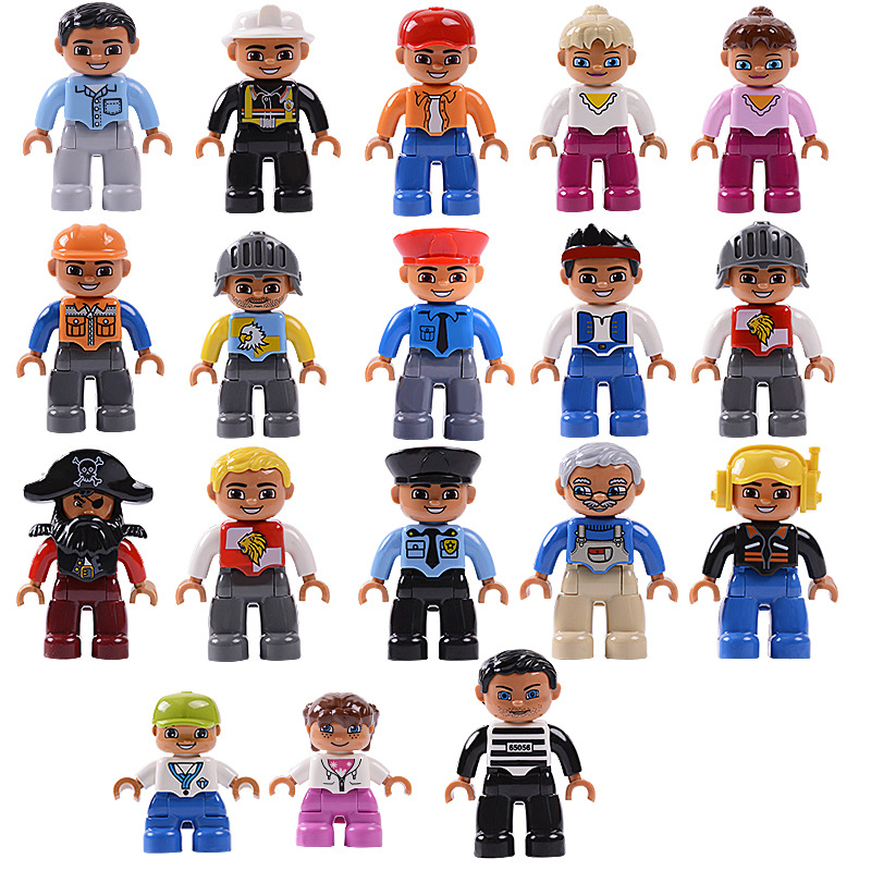 Big Bricks Building Blocks locking Duplo Figures Series The Soldier Family Castle Members Pirate Princess lockings Girls Friends