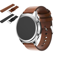 Popular Watchbands Black Mens Replacement PU Leather Watch Bracelet Strap Band For Samsung Gear S3 Frontier Straps Hot 2017(China)