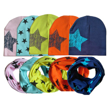 Spring Warm Baby Hat With Scarf Cotton Toddler Infant Kids Caps Scarves Collar Star Print Boys Girls Hats Set(China)