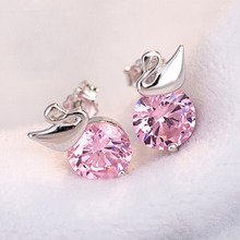 PATICO 2017 Women Wedding Jewelry Pink White CZ 925 Sterling Silver Crystals Stud Earrings Elegant Swan Design Female Earrings(China)