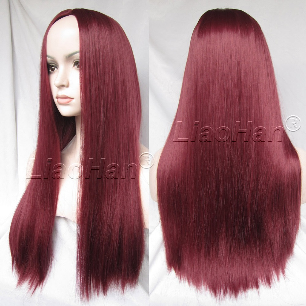New Fashion Wig 22 Straight Long Wig Wine Red Synthetic Burgundy Wig for Women<br><br>Aliexpress