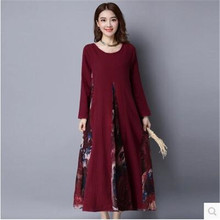 2017 autumn female long dress cotton and linen big size ladies fashion new easing retro high-grade han edition dress woman OK12