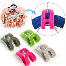 High Quality Creative Mini Flocking Clothes Hanger Easy Hook Closet Organizer 10pcs/lot Free Shipping(China)