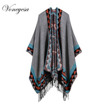 Voneyesa Women Outwear Winter Shawls Geometric Autumn Wool Poncho Wraps Oversize Knitted Winter Women Shawls With Fringe RO17007(China)