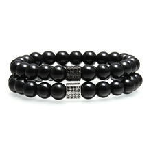 Simple 8mm Black Beads Bracelet Men Jewelry Beaded Chain Wrap Strand Bracelets Male Hand Accessories Bijoux Homme