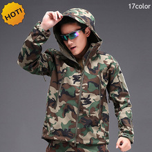 HOT 2017 Outdoor Winter Thicken Fleece TAD Shark Skin Soft Shell Thermal ski-wear Camouflage Cargo Camping training Jacket Men