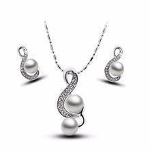 2017 music note happy gift women brand bridal Kate queen Simulated Pearl pendant Necklace Earrings chain Jewelry sets  29083