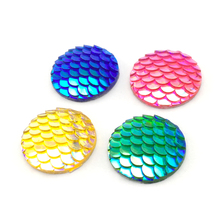 Buy ZEROUP 20mm 25mm Resin Cabochons Round Fish Scales Cameo Flat Back Cabochon Supplies Jewelry Finding 10pcs for $1.49 in AliExpress store
