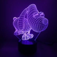 Novelty Cute Cartoon Dog 3D USB LED 7 Colors Changing Lamp Touch Switch Nightlight Kids Gift Livingroom Desk Decoration Light