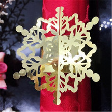 New 100pcs Pearlscent Paper Snowflake Napkin Rings Serviette Table Wedding Decoration Towel Buckle For Wedding Supplies 7ZSH100