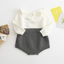 Free Shipping Toddler Girls Children Baby Girls Boys Sweater Knitted One piece Romper Infant wear Baby Clothes 2 Colors 0-3Y