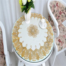 Free Shipping diameter 70 cm round table Golden colour Cheap PVC tablecloth water oil proof(China)