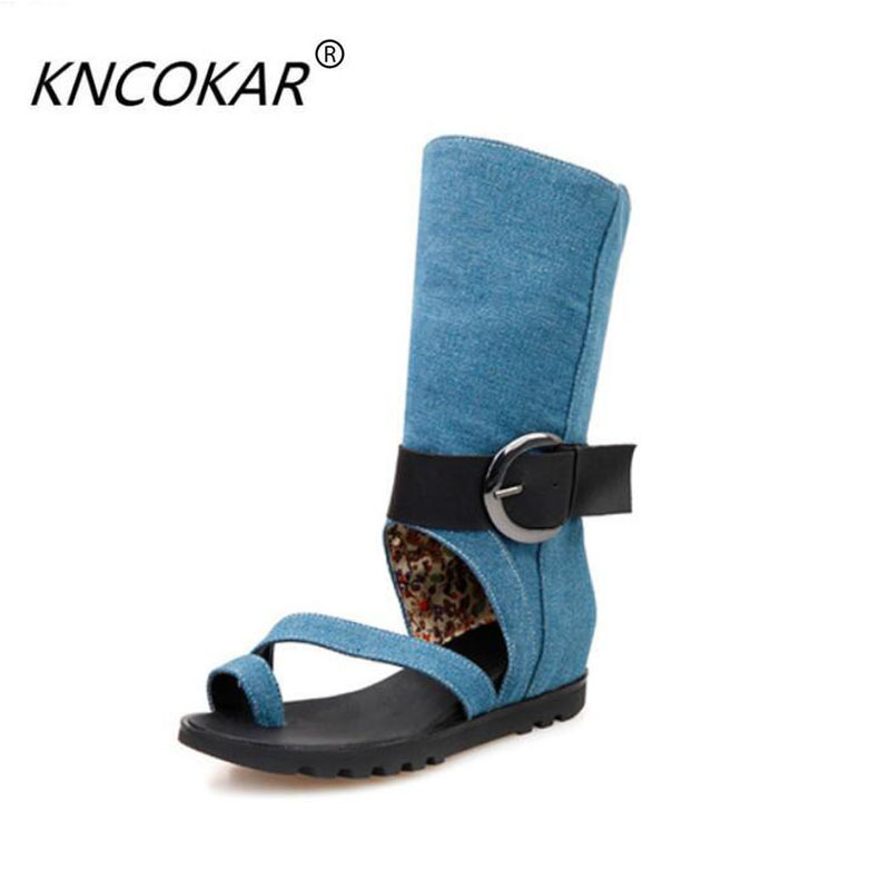 2017 spring and summer sandals flat knee-high casual cool boots denim flat heel cool boots gaotong female shoes<br>