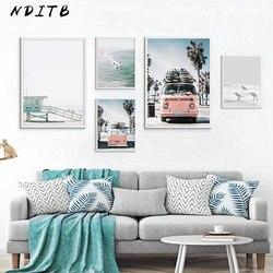NDITB скандинавский тропический пейзаж, плакаты, современные принты, морской пляж, автобус, настенная живопись, холст, скандинавские украшени...