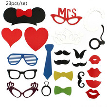 25pcs Bachelorette Party Photo Booth Props Kit Hen Party Fun Accessories with Mustache / Lipsticks / Glasses / Red Lips / Crown(China)