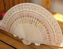 200pcs/lot Free shipping Wedding Favors Gift Chinese Fans carved folding fragrance wood hand fan