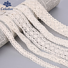 5 Yard/lot Knitted Cotton Lace Fabric Beige Color DIY Handmade,Wedding Party/Craft & Gift Packing/Child Dress/Decoration