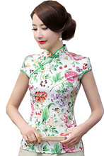Shanghai Story Womens Tops And Blouses Chinese Tops Silk Cheongsam Top Traditional Chinese Top blouse 2 style Optional
