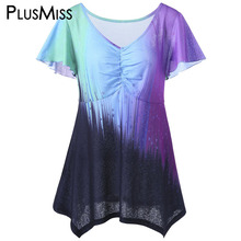 Plus Size 5XL Ombre Tie Dye Tops Women Summer 2017 Big Size Flare Sleeve T-shirts V Neck Color Block Print Tee Shirt Ladies(China)