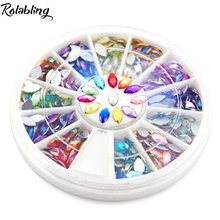 AB 3*6 mm Tear stones nail Multi color Rhinestones mixed nail art stone, wheels Nail Art Glitter Rhinestones rhinestone nail art
