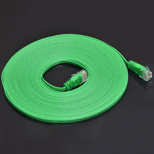 New Flat 50ft 15M Cat 6 Cat6 Lan Utp Network Ethernet Rj45 Patch Cord Cable RoHS Green Color(China)
