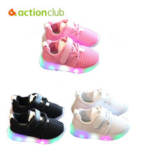 Actionclub Baby Shoes Boys Girls Breathable Sport Kids Shoes Spring Autumn Ati-Slippery First Walker Soft Infant LED Light Shoes