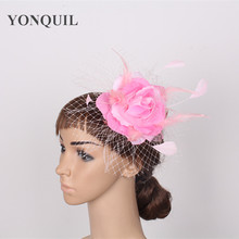 Free shipping high quality women feather fascinator hats good bridal wedding hats Very nice red white pink gold colors SYF01(China)