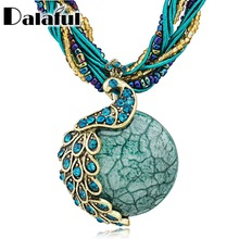 Women Vintage Peacock Crystal Bohemia Glass Beads Cord Rope Chain Pendant Clavicle Necklace Free Shipping B001(China)
