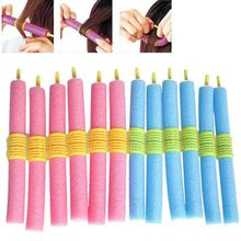 Brand New Foam Curler 12pcs/lot Popular Magical Anion Hair Curler Soft Pearl Sponge Hair Care Styling Roll Stick Roller Curler(China)