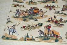 Vintage Beige Western Cowboy & Boxcar Printed 100% Cotton Canvas Fabric 50x150cm Bedding Quilting Clothing DIY fabric