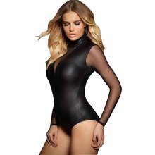 Buy Latex Bodysuit Mesh Long Sleeve Body Lingerie Vinyl Leather Sexy Lingerie Gothic Club Lingere Black Body Suits Women XXL
