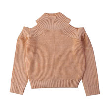 Children Kids Baby Girl Knitting Tops Sweaters Winter Clothes Cold shoulder Long Sleeve Sweater Pullover(China)
