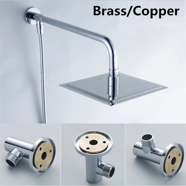 Brass Chrome Shower Head Arm extension Wall Ceiling Mounted Fixed ...