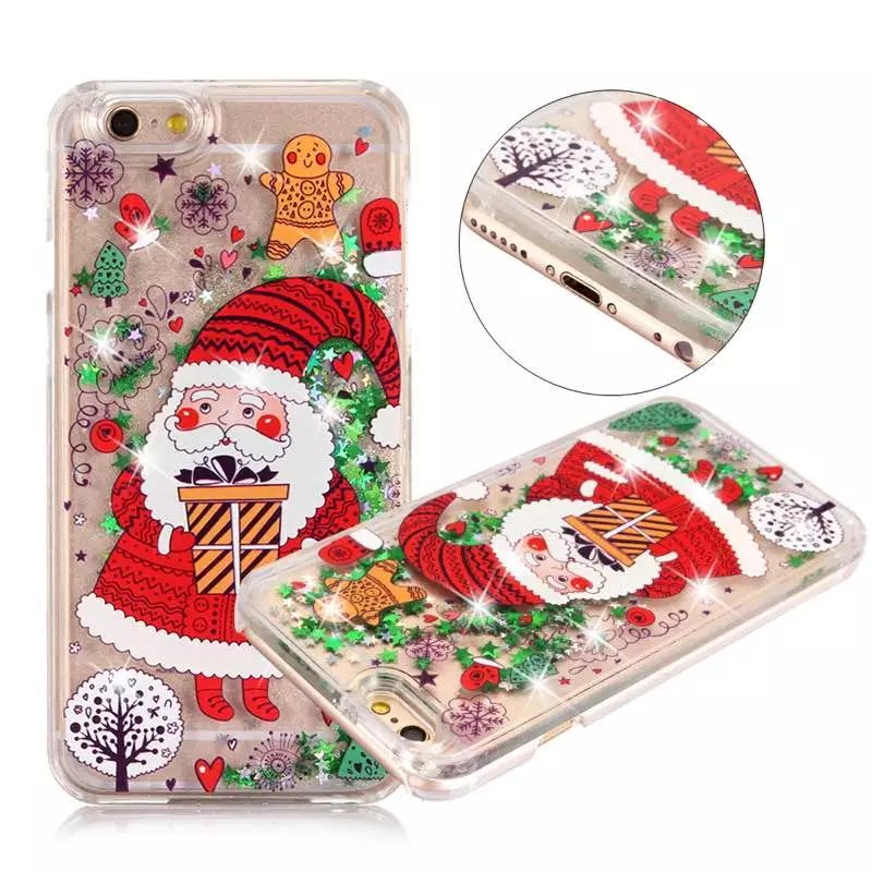 Christmas Tree Gifts Santa Claus Liquid Glitter meteor sand sequins Colorful Dynamic Mobile Phone Cases For iphone 6 6S 7 Plus