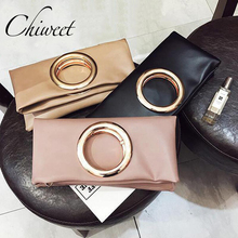Fashion 2017 Pink Ring Clutch Tote Brand Women Leather Envelope Purses And Handbags Designer Crossbody Bags Women Messenger Bag(China)