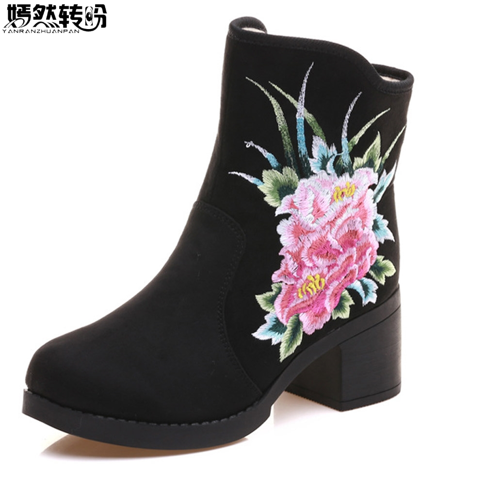 New Arrive Winter Women Boots Floral Embroidered Canvas Ladies Zipper Soft Black Warm Booties Botas Mujer Size35- 40<br>