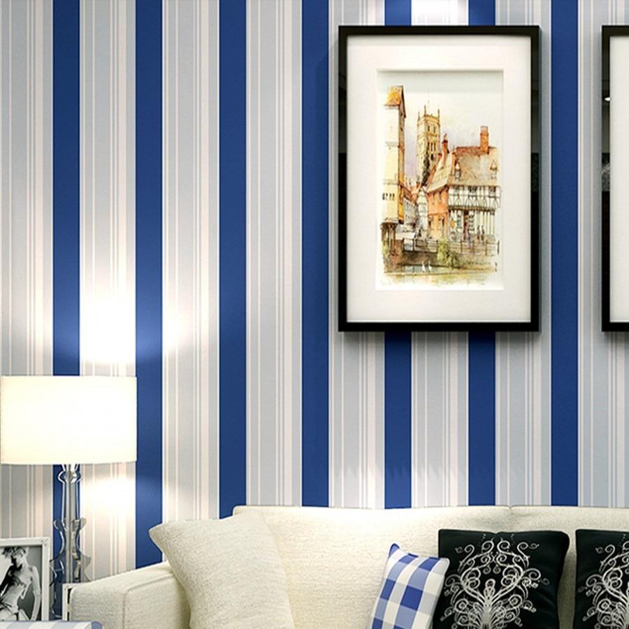 beibehang Mediterranean blue vertical stripe papel de parede 3d wall murals wallpaper for living room papel de parede para sala<br>