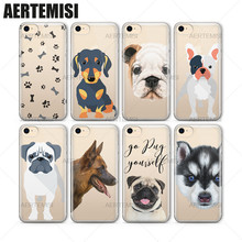 Phone Cases German Shepherd Boston Terrier Pit Bull English Bulldog Puppy Clear TPU Case Cover for iPhone 5 5s SE 6 6s 7 Plus(China)