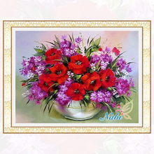 Diamond Embroidery Red &Purple Flower Vase 3d Cross Stitch Kits For Needlework Full Diamond Mosaic Picture Home Decoration BJ159