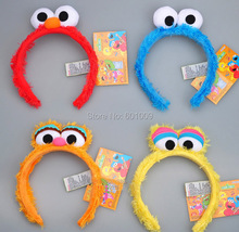 Free Shipping EMS 50/Lot Sesame Street Elmo Headbands cartoon face Funny plush Doll hair hoop Cookie Monster headband(China)