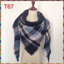 2017 Hot Sale New Fashion Design Triangle Scarf Plaid Fashion Warm in Winter Shawl For Women brand scarves pashmina shawl