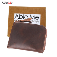 Ableme Multifunction Mini Leather Men Wallet Slim Short Section Handmade And Custom Name Purse Personality Gift For Men