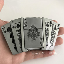 Retail New Spades 10JQKA Playing Cards Kerosene Lighter Cowboy Belt Buckles With Metal Man Jeans accessories For 4cm Wide Belt